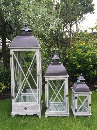 Large Square Lanterns With Cross Detail (Set Of 3) Natural